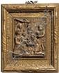 Plaque en albâtre sculpté avec rehauts d'or représentant l'Adoration des mages. À gauche, la Vierge assise présente l'Enfant nu à Me