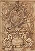 École GENOISE du XVIIe siècle Projet de monument commémoratif Plume et encre brune, lavis brun 20,5×15 cm Nombreuses pliures et anno...