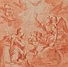Attribué à Pietro FACCINI (Bologne 1562-1602) L'Annonciation Sanguine et lavis de sanguine 16,7×16,7 cm Dessin doublé sur son montag..