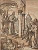 Atelier de Caspar FREISINGER (Ochsenhausen 1560- Ingolstadt 1599) Présentation de la Vierge au Temple Plume et encre noire, lavis br...