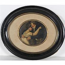 École du XIXe siècle Portrait de Mademoiselle George enlaçant un jeune homme