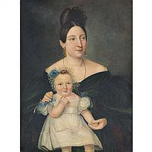 École FRANÇAISE du XIXe siècle Portrait présumé de Mademoiselle George avec son neveu Paul Huile sur toile Signé illisiblement...
