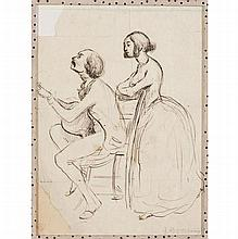 Paul GAVARNI (Paris 1804-1866) Portrait de Georges Sand avec Maurice Sand jouant de la guitare