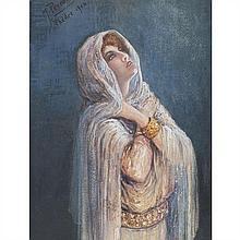 Maurice PERRONNET (1877-1950) Portrait de Sarah Bernhardt dans Phèdre