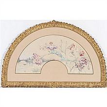 Louise ABBEMA (Étampes 1858-Paris 1927) Projet d'éventail représentant Sarah Bernhardt sur une jetée d'oeillets