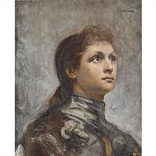 École du XIXe siècle Portrait de Sarah Bernhardt sous les traits de Jeanne d'Arc
