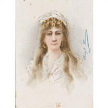 Angélique MOREAU (Actif au XIXe siècle) Portrait de Sarah Bernhardt dans le rôle d'Adrienne Lecouvreur (1692-1730), célèbre comédienne