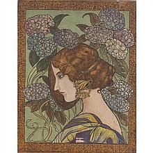 École du XIXe siècle Portrait de Liane de Pougy sur fond d'hortensia Panneau de bois gravé et gouaché 41 × 33 cm manques et...