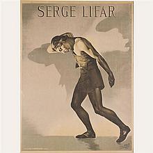 Affiche de Teddy PIAZ Portrait de Serge Lifar pour représentation des ballets russes, théâtre des Champs-Elysées 1929