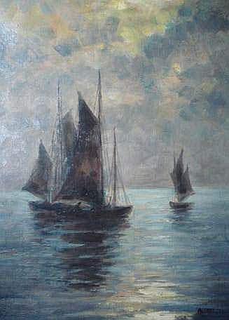 Alfred GUILLOU (1844-1926) - VOILIERS SUR LA MER