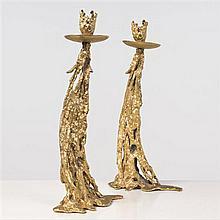 Gabriella Crespi (née en 1922) Gocce Oro Paire de bougeoirs Bronze à la cire perdue doré 24 carats Signés Date de création : 1974 H ...