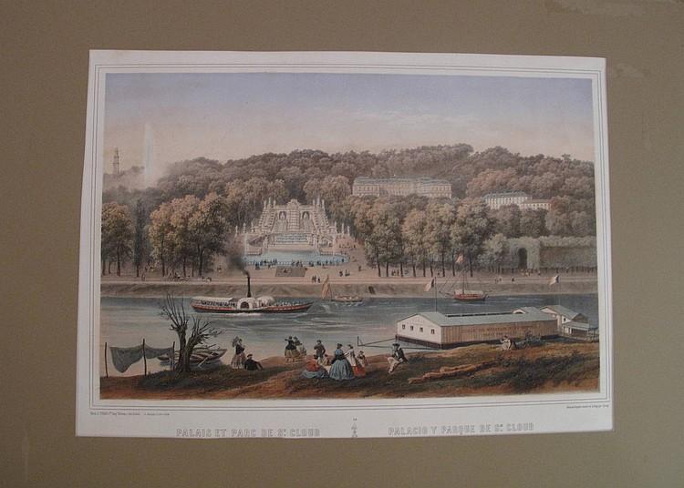 Saint-Cloud Palais et parc de Saint-Cloud. XIXe s. Lithographie par Deroy. 477 x 310. Très belle et fraîche épreuve coloriée. Bonnes...