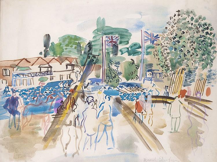 Raoul DUFY (1877-1953) Régates à Henley Gouache et aquarelle sur papier Signé en bas à droite 50,3 x 65,7 cm Provenance : - vente So...