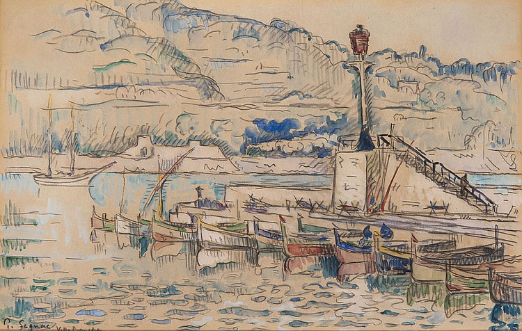 Paul SIGNAC (1863-1935) Le Port de Villefranche, 1920