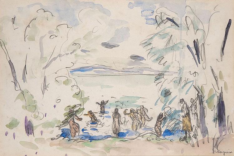 Henri MANGUIN (1874-1949) Les Baigneuses, 1917 Aquarelle sur papier Signé en bas à droite et daté 22,8 x 34,2 cm Expositions : - JPL...
