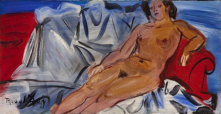 Raoul DUFY (1877-1953) Nu au sofa rouge Huile sur isorel Signé en bas à gauche 15,5 x 30,5 cm Provenance : - vente Calmels-Chambre-C...