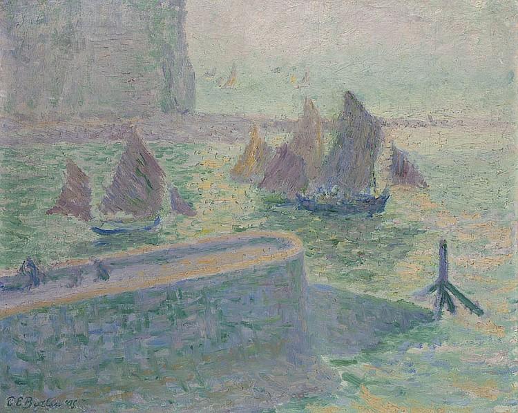 Théodore Earl BUTLER(1861-1936) La Mer à Quiberville, 1905 Huile sur toile Signée et datée en bas à gauche 60 x 73 cm L'authenticité..