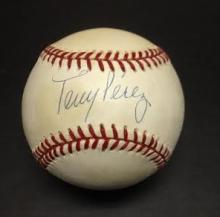 Tony Perez Signed Leonard Coleman Baseball HOF