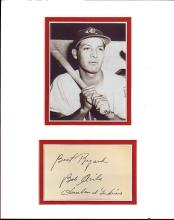 Bob Avila Cut Signature Matted with a Photograph Certified by JSA