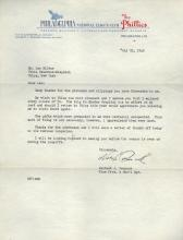 Herb Pennock HOF 1927 Yankees Signed Autographed Phillies Letter Certified by JSA