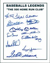 500 Home Run Club Signed Card Certified by The Score Board Mantle, Williams, Mays, Aaron, Robinson