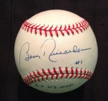 Bobby Richardson Single Signed Baseball W/ #1 Inscription Certified by  HOF Sports