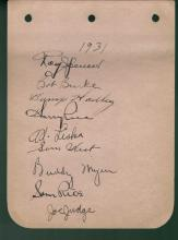 1931 Washington Senators Album Page Signed by Nine Players Certified by Jim Stinson