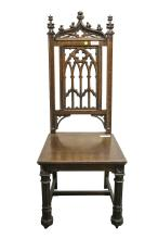 Mahogany Gothic Carved Sidechair