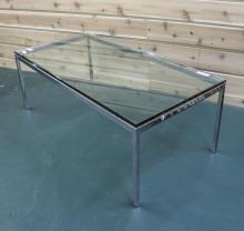 Modern Glass and Metal Base Table