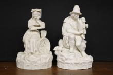 Porcelain Male and Female Figural Statues