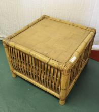 Bamboo and Rattan Side Table with Storage