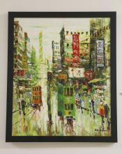 Oil on Canvas Asian Street Scene By A. Koon