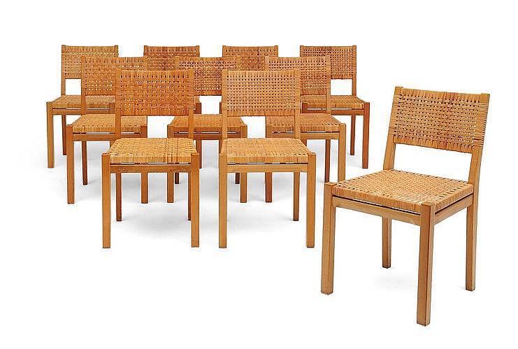 Aino Aalto (1894-1949) Ensemble de dix chaises 615