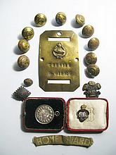 A World War I Royal Tank Corps brass plaque impressed 7884912 H. GIBSON, Royal Artilery Buttons etc