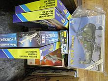Box of 13 Italeri, Revell, Hasegawa and other modeller's kits