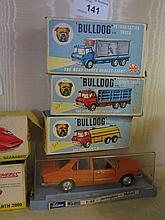 Three Marx 'Bulldog' Lorries and Schuco Car