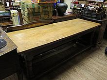 A Seventeenth Century Oak Refectory Table with later twin plank top, 207 x 70cm  Sold on behalf