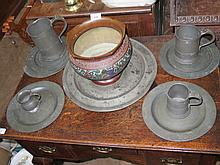 A Selection of Pewter including mugs and platter