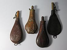 C&J; W Hawksley Embossed Leather Shot Flask and three others