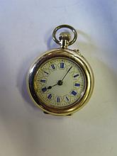 A 14K Ladies Pocket Watch with enamel dial _ running