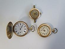 A 14K Ladies Pocket Watch, 9ct Wristwatch and Betsy Ross gold plated watch