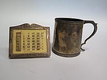 An Edward VII Silver Christening Mug, Sheffield 1907 and calendar