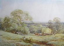 Henry John Sylvester Stannard R.B.A (1870 - 1951), 'In a Bedfordshire hayfield near Flitwick', water