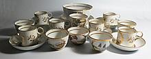 A Pinxton? China Part Tea and Coffee Set decorated with various landscapes and numbered to the base