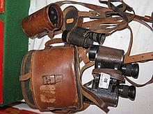 WWI Zeiss Monocular 8x24 in leather case (marked GH Whitesid) and British Army Prismatic Binoculars