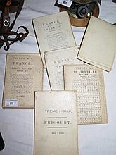 Four WWI Canvas Backed Trench Maps of Northern France and two relief maps