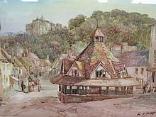 WH Sweet, The Yarnmarket and Castle at Dunster, watercolour, 35 x 26cm