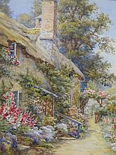 Cottage and Garden Scene, watercolour, 20 x 15cm and another 'Over The Stile', 44 x 28cm