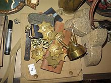 Selection of Militaria including map case, pair or 'Egypt' book ends, badges etc
