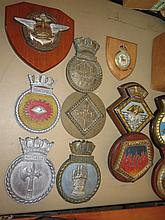 Large Collection of Royal Navy Plaques including Indomitable, Leeds Castle, Truncheon and Otus